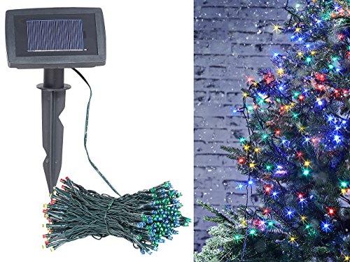 Lunartec Solar Lichterkette bunt: 4-farbige Solar-LED-Lichterkette mit 100 LEDs und Timer, IP44, 10 m (LED Solar Lichterketten RGBW)