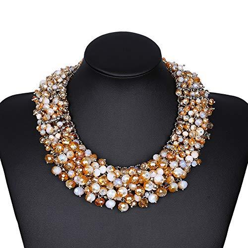 Zhongsufei-N Damen Halskette Frauen Mädchen Halloween Kunststoff Bead Ornament Multi Layer Tassel Choker Bib Statement Halskette österreichischen Damenschmuck (Farbe : Beige)