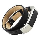 Ansenesna Sport Bracelet Smartwatch Armband Double Tour Leder Uhrenarmband Fitness für Fitbit Alta HR (Schwarz)
