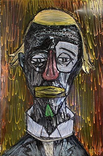 Metallmalerei als Hommage an Bernard Buffets orangen Clown von Philippe Buil Sculptor (Tabelle Clown)
