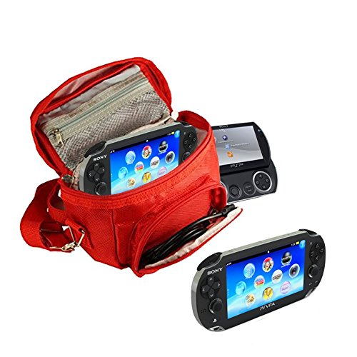 Orzly® - FUNDA para SONY PSP (GO/VITA/1000/2000/3000) - Funda para Consola, Juegos y Accessarios . Bolso incluye: Correa para el Hombro Ajustable + Llevan la Manija + Fijación a un Cinturón - ROJO