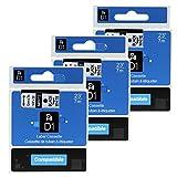 3x 12mm Schwarz auf Weiß Schriftbänder Kompatibel Dymo D1 45013 S0720530 12mm x 7m Etikettenband für den Drucker LabelManager 100 110 120P 150 160 PC2 200 210D 220P