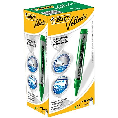 Bic Velleda - Marcatori cancellabili a secco con serbatoio d'inchiostro liquido, confezione da 12, colore: Nero Scatola da 12 verde