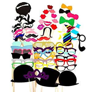 WINOMO puntelli Lips cappelli Occhiali Baffo Rosso Bow Tie su bastoni per matrimonio fai da te Birthday Party 58 pcs
