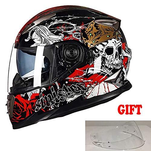 TANMIN Integralhelm · ECE Certified · Inkl · Doppelsonnenblende · Cruiser Sport Moto Städtische Scooter Motorrad-Sturzhelm (Geschenk EIN Außen Lens) · Black Skull,M