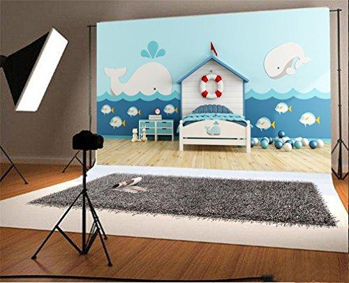 YongFoto 2,2x1,5m Foto Hintergrund Cartoon Kinder Haus Segeln Life Boje Dolphin Flag Bett Bälle Fisch Wellen Holzboden Innere Fotografie Hintergrund Photo Portrait Party Kinder Hochzeit Fotostudio