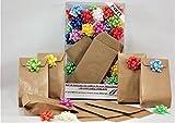 Set Verpackung Geschenke. Party. Kit 30Taschen Papier Millerighe Havanna + 30Schleifen bunt 8+3X15+3 EXTRA MINI PARTY