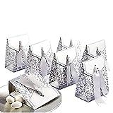 JZK® 50 x Silber Papier Süßigkeiten Kasten Bonbons Geschenkschachtel Confetti Geschenkbox für Hochzeit Geburtstag Babyparty Baby Shower Weihnachten