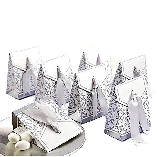 Jzk 50 argento scatolina bomboniera scatola portaconfetti segnaposto per matrimonio compleanno battesimo comunione nascita laurea natale