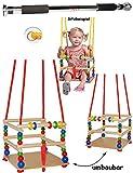 Unbekannt 1 Stück _ Kinderschaukel / Schaukel aus Holz + Türreck - Gitterschaukel - mit Gurt - mitwachsend & verstellbar - Leichter Einstieg ! - Babyschaukel - verstell..