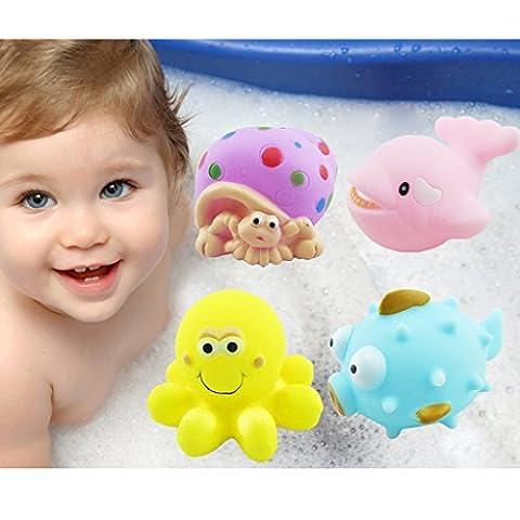 Baby Bad quietschende Spielzeuge Corlorful Gummi marine Tiere 4 Stück