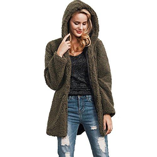 Sonnena donne felpe lungo parka invernale caldo cappotto top Overcoat Outwear XXXL Brown Green