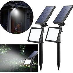 LED Solaire Projecteur,Extérieur Solaire de Jardin Spot Lampe Solaire 48 LED lumière de Nuit sans Fil pour Noël, Jardin, Escalier Exterieur, Cour, Clôture, Patio (2 PCS)
