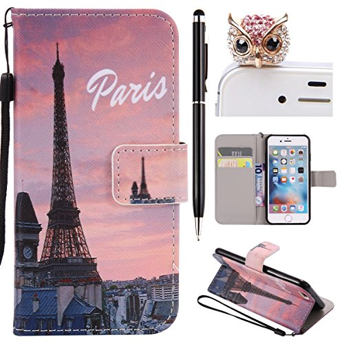 iPhone 6 Hülle,iPhone 6S Case - Felfy Flip Bookstyle Wallet Luxe Handyhülle Retro Painted Niedlich Farbe Muster Premium Slim PU Leather Stand Wallet Flip Lederhülle Case Cover Pouch Shell Soft mit TPU Eiffelturm Cas