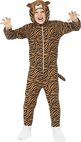 Smiffys Kinder Unisex Tiger Kostüm, All-in-One mit Kapuze, Größe: M, (Up 70's Kostüme Dress)