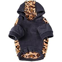 Awhao Pet Vetements pour chien a capuche Vetements d'hiver chaud imprime leopard Manteau Manteaux