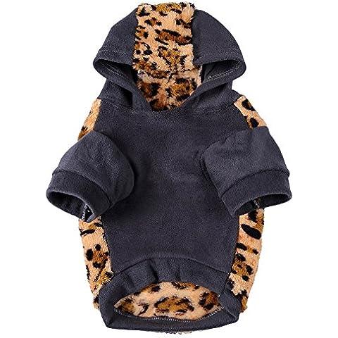 Awhao Mascotas ropa para perros con capucha de invierno Ropa caliente del estampado leopardo Escudo