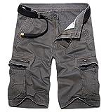 BULUOMU Herren Cargo Shorts Vintage Arbeitsshorts Kurze Freizeithose Outdoor Bermuda aus Baumwolle Männer Sommerhose mit Gürtel-Grau