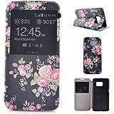 Samsung Galaxy S7 Edge étui,Samsung Galaxy S7 Edge Coque,Samsung Galaxy S7 Edge case,Samsung Galaxy S7 Edge cover,Floral flower PU Porte-monnaie en cuir Flip Etui pour Samsung Galaxy S7 Edge-colour