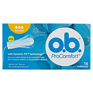 O.B. ProComfort Tampons with Easy Insertion and Reliable Protection, 16 Tampons - Pack of 4