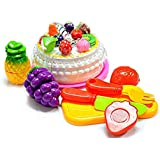Shanaya Toys 8 Pieces Realistic Sliceable Birthday Cake With Fruits Cutting With Velcro Pretend & Play Toy For Kids (Multicolor)