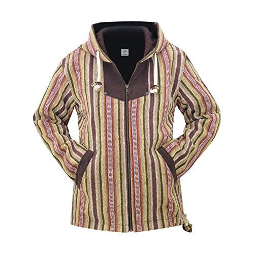 virblatt - Ethno Kapuzenjacke Winterjacke warme Jacke Baumwolle und Winterjacke für Damen Hippie Kleidung - Kathmandu S