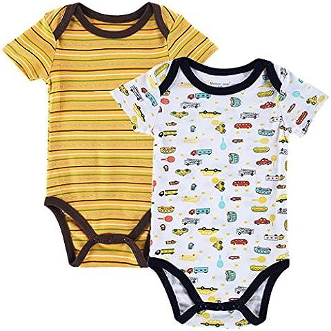 QHGstore vestidos de manga corta 2pcs recién nacido Romper BaumwollAbsorba Boy Mono Mono 0-3M