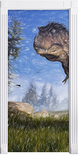 T-Rex Dinosaurier in der Natur Kunst Buntstift Effekt als Türtapete, Format: 200x90cm, Türbild,...