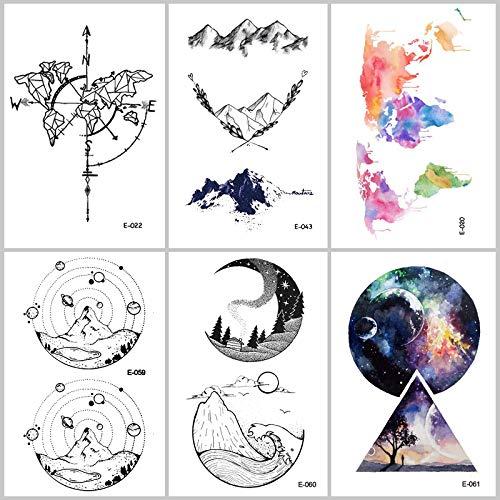 lijinjin Temporäre Tattoo-Aufkleber 217 Universum Wasserdicht Temporäre Tätowierung Aufkleber Planet Alien Rockets Sterne Gefälschte Tätowierungen Mann Frauen Body Art Tattoo 9,8 * 6 cm 6 ()