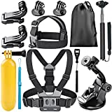 Neewer 8-in-1 Accessories Kit for Gopro Hero 4 Black Silver Hero HD 4 3+ 3 2 1 Kit Includes: Head Belt Strap Mount+ Chest Belt Strap Mount+Handle Monopod+(2) Gopro J-Hook Buckle