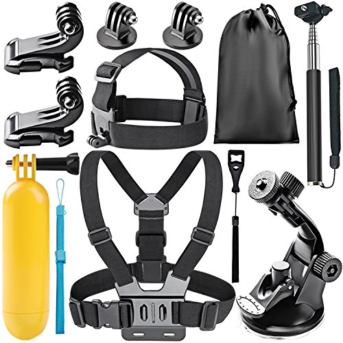 Neewer 8-in-1 Accessori Kit di Action Cam per GoPro Hero 4/5 Session, Hero 1/2/3/3+/4/5, SJ4000/5000, Xiaomi Yi, DV Sportiva di Nikon/Sony in Nuoto Canottaggio Arrampicata Ciclismo Campeggio ecc.