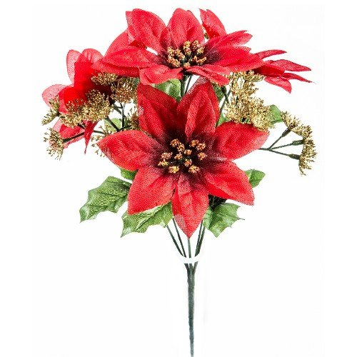 A1-Homes 2 x Artificial Silk Flower Red Poinsettia Bush with Gold Queen Anne Lace - 7 Flower Stems each - Christmas
