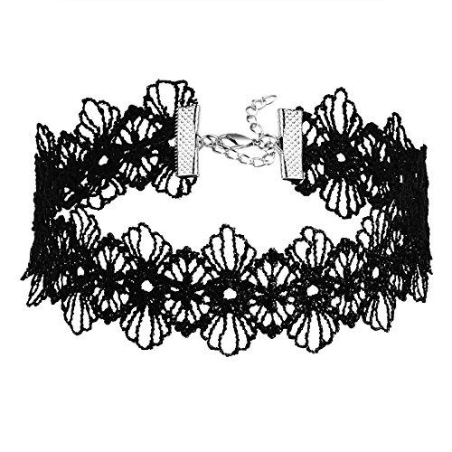 AMDXD Schmuck Damen Halskette Choker Spitze Trim Design Blume Tattoo Gothic Schwarz Halsband (Leder Trim Pullover)