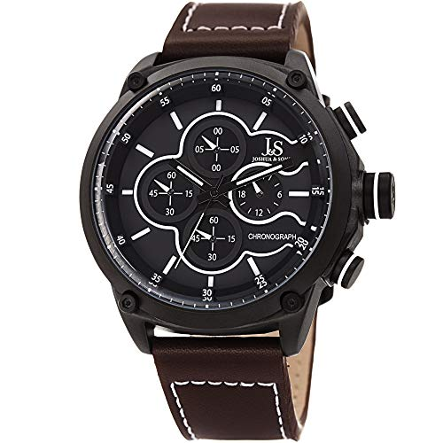Joshua & Sons Men's Chronograph Sports Watch – Genuine Brown Leather Strap, Contrast Stitch, Multifunction 60 and 30 Second Register – JX133BR
