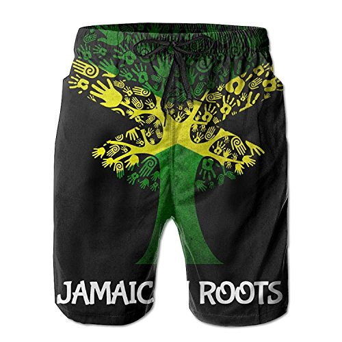 Funny&shirt Jamaican Roots Jamaica Flag Tree Men's Swim Trunks Printed Quick Dry Board Shorts Medium