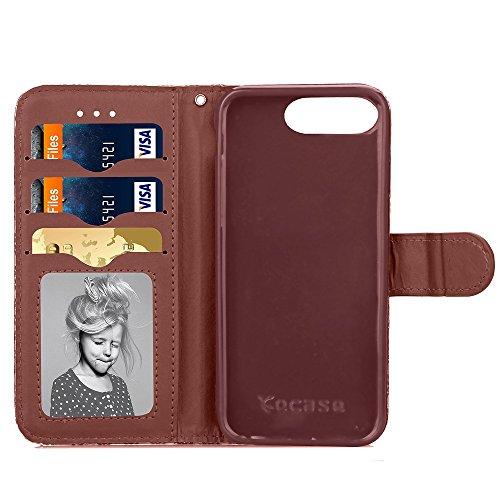 Wkae Case Cover Étui en cuir synthétique PU cas de motif en relief Fleur Lucky Clover Avec Dragonne Folio Stand Case Wallet Fonction Pour IPhone 7 Plus ( Color : Gray , Size : IPhone 7 Plus ) Brown