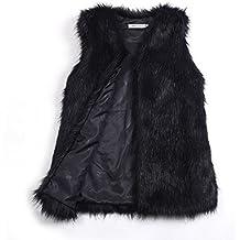 Samber Chaleco de Pelo de Zorra Sintético Chaqueta Mujer Pelo Invierno  Abrigos Medio Largo para Mujer baf193bbac06
