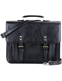 """ECOSUSI Men and Women 14.7"""" Briefcase Laptop Messenger Bag School Satchel Work Shoulder Bag for Folder"""
