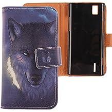 Lankashi PU Flip Funda De Carcasa Cuero Case Cover Piel Para Huawei Ascend P2 Wolf Design