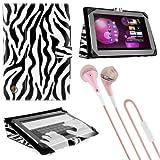 "Black White Zebra Vangoddy Soho Standing Portfolio Case for Acer Iconia A200 / W510 10.1"" Tablet + Pink VanGoddy Headphones"