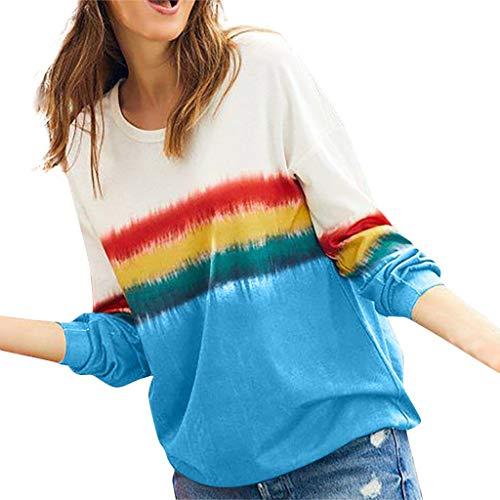 Dasongff Damen Sweatshirts Langarm Rundhals Tunika Blusen Batik T Shirts Pullover Tops Langarmshirts Lose Bluse Hemd Shirt Oversize Sweatshirt