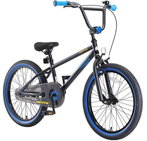 BIKESTAR Kinderfahrrad für Mädchen und Jungen ab 6-7 Jahre | 20 Zoll Kinderrad Kinder BMX Freestyle | Fahrrad für Kinder Schwarz & Blau - Ständer Kinder Fahrrad 20 Zoll