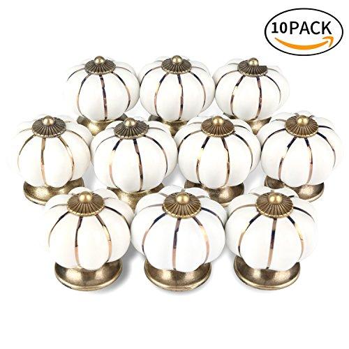 10 piezas de pomos de cerámica en forma de calabaza, de ONSON,...