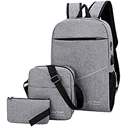 bigcity Women's Backpack Handbag 3Pcs/Set Solid Color Canvas Unisex Backpack Shoulder Crossbody Bag Small Purse