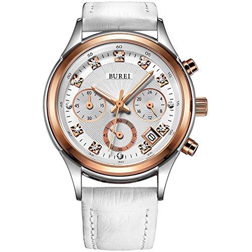 BUREI Diamanten Damenuhr Chronograph Frauen Armbanduhr mit weiße Echtleder Armbanduhr und roségoldenem Uhrengehäuse Geschenke für Frauen