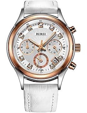 BUREI Damen Rosegoldene Quarz Armbanduhr Chronograph Stoppuhr mit Weißem Zifferblatt und Echtes Lederband