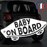 Sticker Bébé à bord pour voiture Baby On Board Skate 20 cm Blanc - Anakiss
