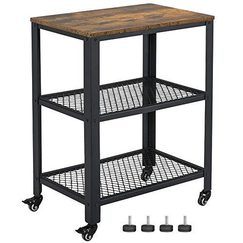 Yaheetech Industrie Servierwagen, Küchenwagen, Rollwagen für Küche und Wohnzimmer, 3 Ebenen, Küchenregal auf 4 Rollen, Metall