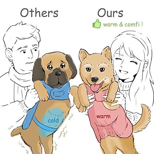 SelfLove Hundemantel aus 100% Wasserdicht Nylon Fleece Futter Jacke Reflektierende Hundejacke Warm Hundemantel Climate Changer Fleece Jacke einfaches An- und Ausziehen(L Schwarz) - 3