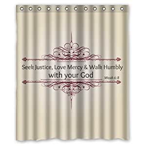 bibel verse wasserdicht duschvorhang 150 x 180 cm k che haushalt. Black Bedroom Furniture Sets. Home Design Ideas